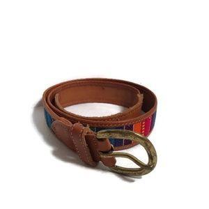 Vintage Boho Striped Leather Guatemala Belt